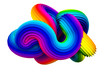 Abstract rainbow shape. 3d illustration, 3d rendering.
