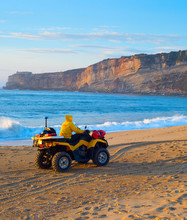 Lifeguard Riding Buggy Beach Portugal