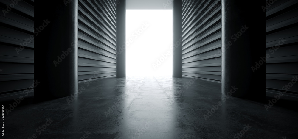 Fototapety, obrazy: Futuristic Modern Garage Columns Showroom Tunnel Corridor Concrete Metal Grunge Reflective Glossy Empty Space White Glow Showcase Stage Underground Hallway Entrance 3D Rendering