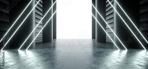 Fototapeta Neon Triangle Laser Fluorescent Blue Futuristic Garage Showroom Tunnel Corridor Concrete Metal Grunge Reflective Empty Space White Glow Showcase Stage Underground Entrance 3D Rendering obraz na płótnie