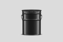 Black Tub Paint Bucket Mock Up...