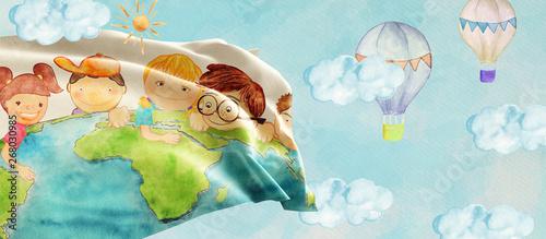 Fotografía Earth day. Education concept banner. Watercolor.