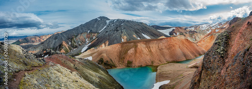 Recess Fitting Salmon Panoramic view of colorful rhyolite volcanic mountains Landmanna