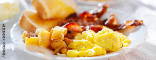 breakfast with eggs bacon and hashbrowns panorama Wallpaper Mural
