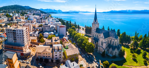 Aerial panorama of the city of Bariloche, Argentina - 268039528