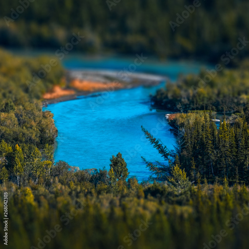 Printed kitchen splashbacks Forest river Blue rapid river flows through the wild area with coniferous forest. Altai Republic, Russia. Tilt shift effect applied