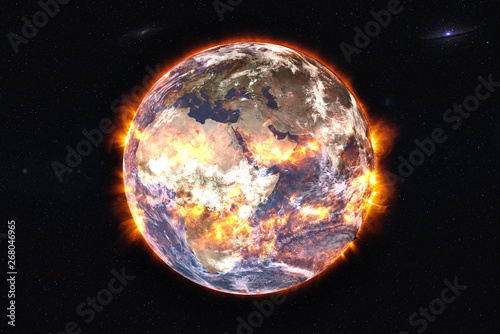 Fototapety, obrazy: Planet Earth of Solar system explosion in the outer space. Humanity end. Planetary death concept. Elements of this image were furnished by NASA.