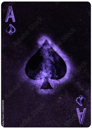 Photo Ace of  Spades playing card Abstract Background
