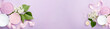 Spa and skin care products banner (cream, and sea bath salt) on purple background with spring white lilac blossom. Freshness natural anti-age relax care. Female spa cosmetics with heart from ribbon