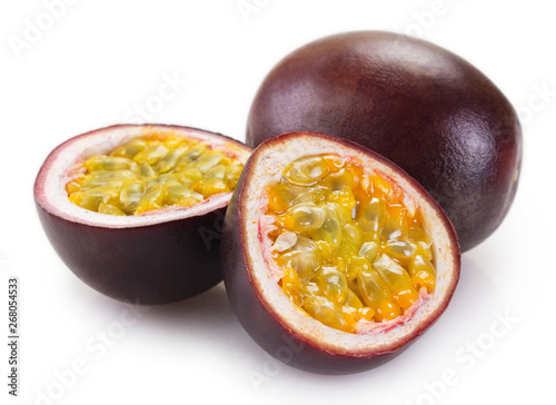 Fresh passion fruit on white background