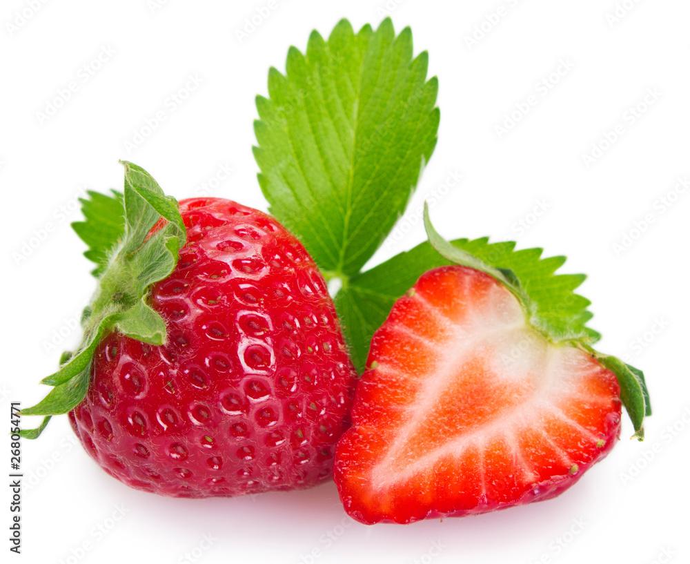 Fototapety, obrazy: Fresh strawberry on white background
