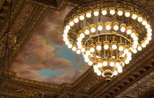 Chandeliers And Ceiling  - New York Public Library On Fifth Avenue In Manhattan.