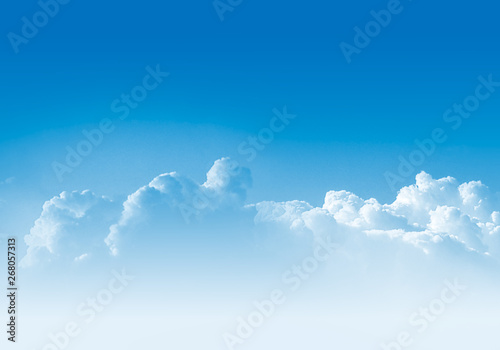 Obraz Clear blue sky with the fluffy clouds. Blue-sky background illustration. - fototapety do salonu