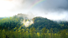 Cloud Forest With Rainbow On The Top Of It. Mountain Hill Forest On Autumn. Silvagenitus Cloud Develops Locally Over Forests Due To Increase Humidity And Evaporation From The Tree Canopy.