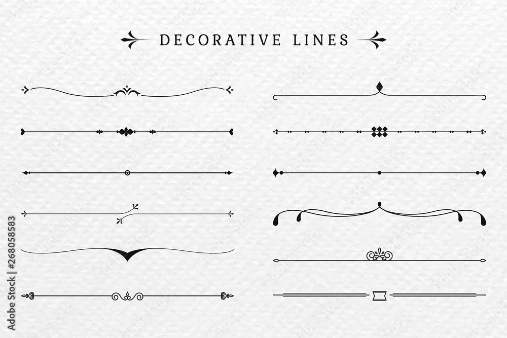 Fototapeta Vintage decorative lines collection