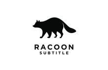 Raccoon Sit Down Eat Black Log...