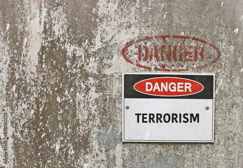Fényképezés  red, black and white Danger, Terrorism warning sign
