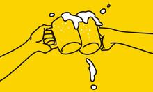 ジョッキビールの乾杯シーンのシンプルなイラスト
