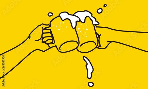 Fotografia ジョッキビールの乾杯シーンのシンプルなイラスト