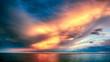 Beautiful Orange and Pink Sunset Clouds over Horizon