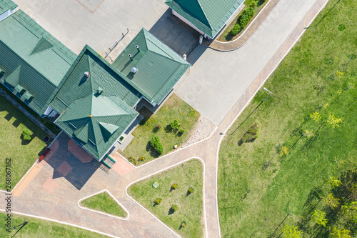 Fototapety, obrazy: aerial view of house with green metal shingle roof