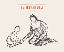 Mother Playing Child, Hand Drawn Vector Sketch