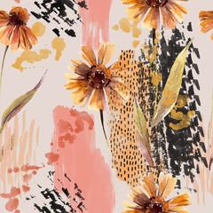 Fototapeta Inspiracje na jesień Watercolor flowers, leaves, scribbles, rough brush strokes, textures background