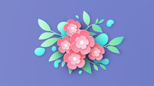 Illustration Of Paper Art Flowers And Water Droplets Placed On Background. Graphic Design For Spring Season. Paper Cut And Craft Style. Vector, Illustration.