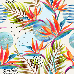 Fototapeta Wzory geometryczne Geometric shapes with watercolor flowers, palm leaves, marble, grunge texture