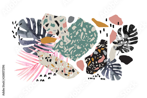 In de dag Grafische Prints Tropical watercolor leaves, turned edge geometric shapes, terrazzo flooring elements collage