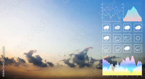 Fotografia, Obraz  Weather forecast symbol data presentation with graph and chart background on deamatic panorama view of peaceful twilight sky and clouds in summer