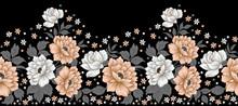 Seamless Textile Floral Border Design
