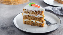 Slice Of Homemade Carrot Cake ...