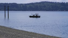 Small, Nondescript Fishing Floating Near Dock At Camano Island State Park, WA State. 40sec/24fps Slow Motion. Version 5