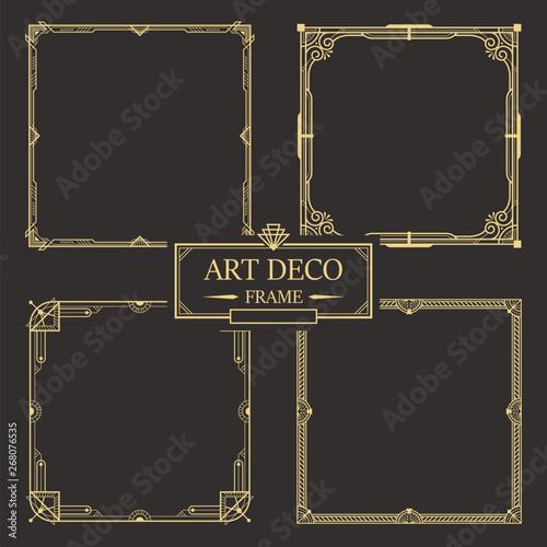 Art deco border and frame set vector Wallpaper Mural