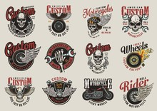 Colorful Motorcycle Labels