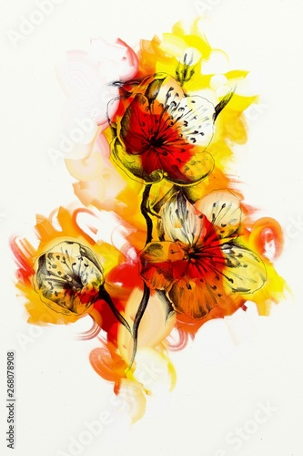 Abstract flowers oils painting art illustration