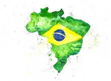 Watercolor Illustration Hand Draw Map Of Brazil In The Colors Of The Flag With Splashes