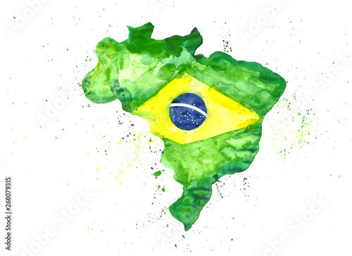 Watercolor illustration hand draw map of Brazil in the colors of the flag with s Canvas