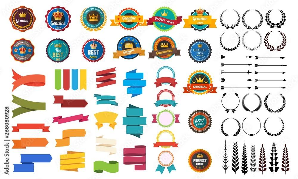 Fototapety, obrazy: Set of vector retro badge ribbon vintage element for design on white background. Vector stock illustration