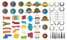 Set Of Vector Retro Badge Ribb...