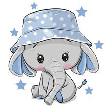 Cute Elephant In Panama Hat Is...
