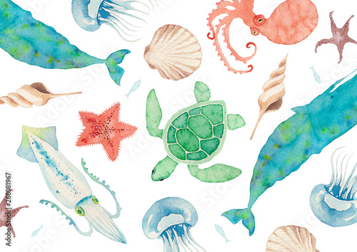 Obraz 夏 背景 テキスタイル 海の生物 水彩 イラスト - fototapety do salonu