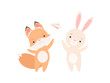 Lovely White Little Bunny and Fox Cub Playing with Paper Plane, Cute Best Friends, Adorable Rabbit and Pup Cartoon Characters Vector Illustration