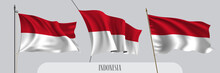 Set Of Indonesia Waving Flag On Isolated Background Vector Illustration