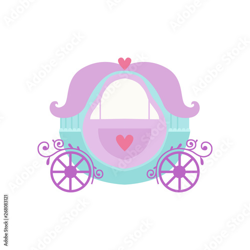 Carta da parati Cute Princess Fairytale Fantasy Carriage Cartoon Vector Illustration