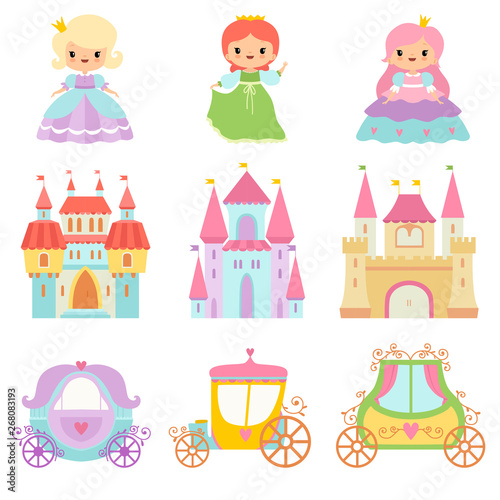 Obraz na plátně Collection of Cute Little Princesses, Magic Castles, Fairy Tale Carriages Cartoo