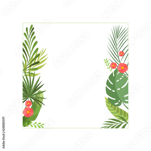 Tropical Leaves and Flowers Elegant Frame with Space for Text, Banner, Poster, Wedding Invitation, Summer Greeting Card Design Element Vector Illustration