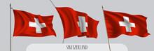 Set Of Switzerland Waving Flag On Isolated Background Vector Illustration