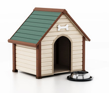 Doghouse And Food Bowl Isolated On White Background. 3D Illustration